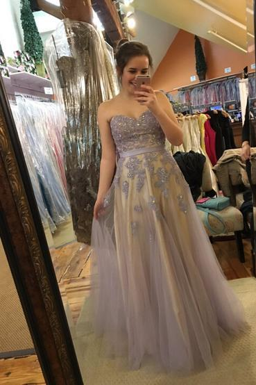 Charming Prom Dress,Appliques Prom Dress,Sweetheart Prom Dress,Tulle Evening Dress