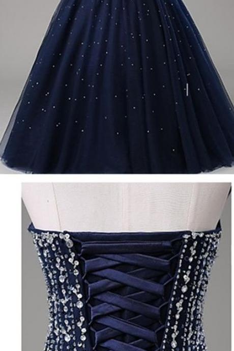 Dark Navy Sweetheart Prom Dress,Long Prom Dresses,Charming Prom Dresses,Evening Dress Prom Gowns, Formal Women Dress,prom dress