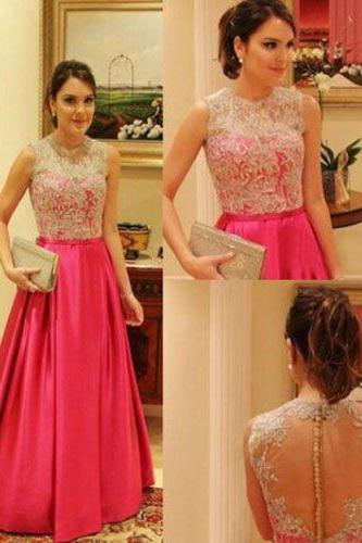 2017 Custom Made Hot Pink Prom Dress,Lace Evening Dress,A-Line Party Dress,Floor Length Prom Dress