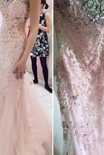 Pretty Appliques and Lace Prom Dresses, Sweetheart Prom Dress, Real Made Prom Dresses,Chiffon Backless Prom Dresses On Sale