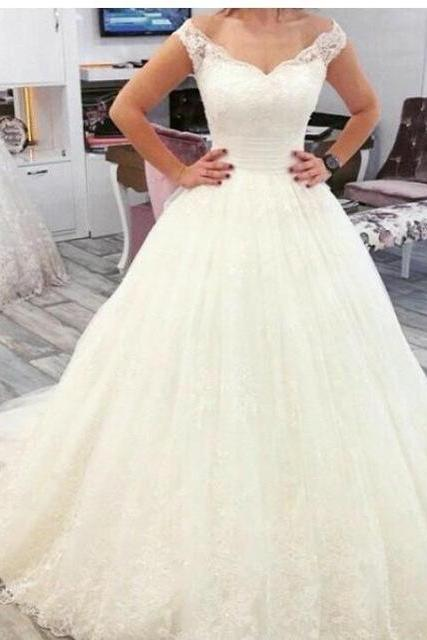 Wedding Dress,A Line Wedding Dresses,Tulle Bridal Dress with Lace