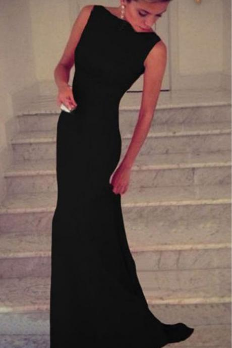 Charming Prom Dress,Black Chiffon Prom Dress,Long Evening Dress,Sexy Mermai Party Dress