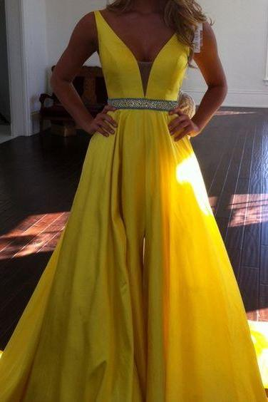 Sexy Prom Dress,Sleeveless Yellow Prom Dress,Sexy Evening Dress,Long Evening Gowns