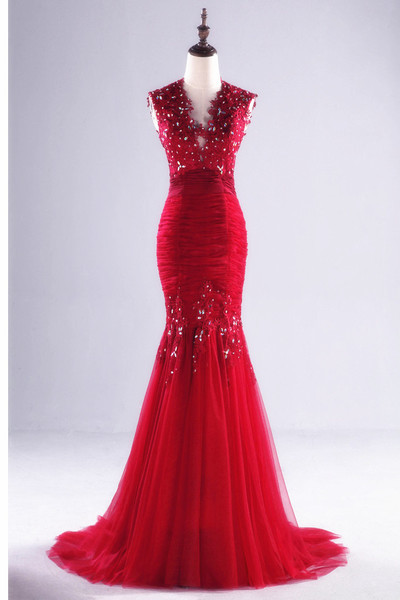 Appliques Beading Real Made Mermaid Charming Prom Dresses,Long Evening Dresses,Prom Dresses On Sale