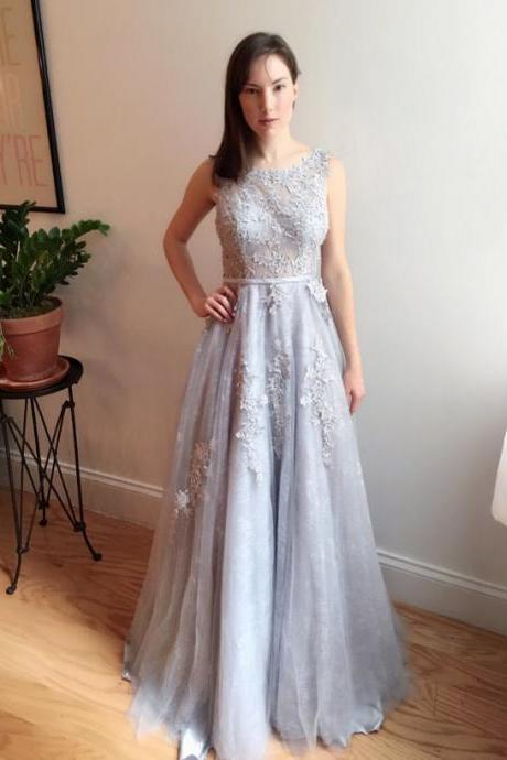 O-Neck A-Line Prom Dresse,Long Prom Dresses,Cheap Prom Dresses,Appliques Evening Dress Prom Gowns, Formal Women Dress,prom dress