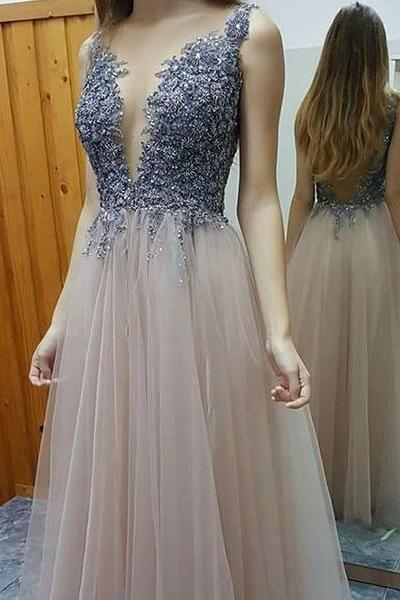 V-Neck Appliques A-Line Prom Dress,Long Prom Dresses,Cheap Prom Dresses, Evening Dress Prom Gowns, Formal Women Dress,Prom Dress