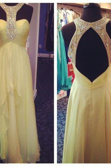Charming Prom Dress,A-Line Prom Dresses,Chiffon Prom Dress,Beading Evening Dress