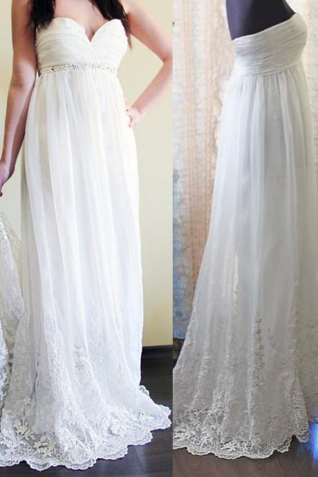 Romantic Wedding Dress,Chiffon Wedding Dress,Lace Wedding Dress,Sweetheart Prom Dress,Lace Wedding Dresses