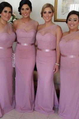 Gorgeous One-shoulder Mermaid Long Bridesmaid Dress/Wedding Party Dress