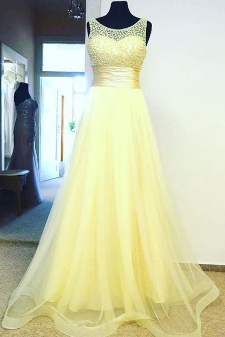 Evening Dress,Prom Dress,Prom Dresses,Yellow Tulle Empire Long Prom Dress , Formal Gown With Beaded Bodice