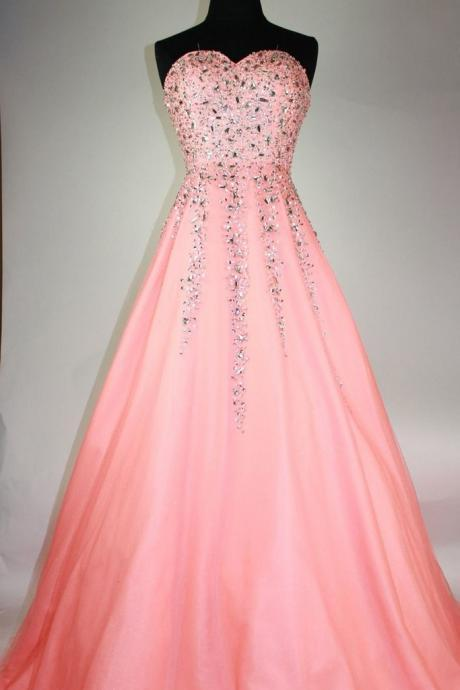 Peach Organza sweetheart beading A-line long prom dresses for teens ,evening dresses
