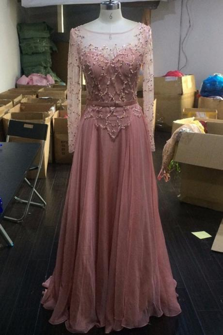 Peach chiffon see-through long sleeves A-line round neck sequins simple long prom dresses