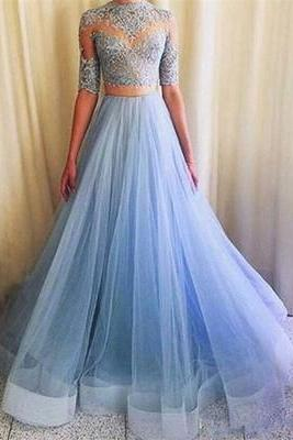 Pretty Prom Dress,Tulle Prom Dresses,Appliques Prom Dress,Half-Sleeves Prom Dress