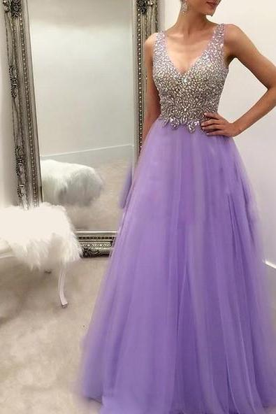 Lavender Long Prom Dresses, Party Evening Dress, Beading Prom Dress,Pleated Back Zipper Floor Length Prom Dress