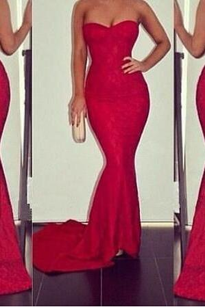 mermaid lace prom dress,long prom dress,sweetheart neckline evening dress,sexy prom dress,red prom party gowns