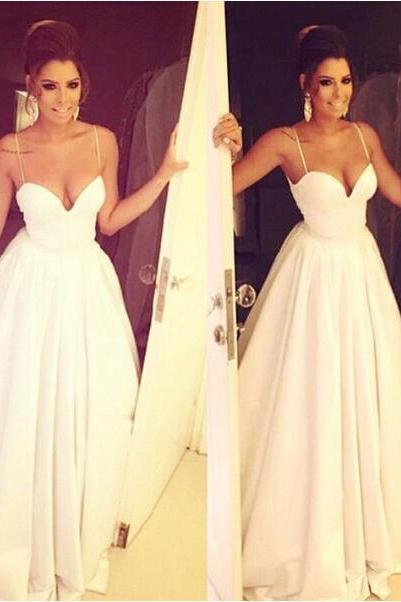 Simple Brides Dress with Spaghetti Straps,Satin Bridal Dress,White Wedding Dresses,Long Wedding Gown,Ruffled Wedding Gowns,Long Wedding Dress