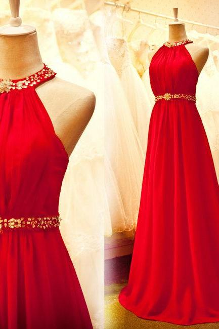 Custom Made Red Chiffon Prom Dress,Sexy Halter Evening Dress,Beading Party Dress,High Quality Wedding Guest Prom Gowns, Formal Occasion Dresses,Formal Dress