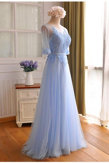 Custom Made Baby Blue Tulle Prom Dress,Sexy Middle Sleeves Evening Dress,Appliques Floor Length Party Dress,High Quality Wedding Guest Prom Gowns, Formal Occasion Dresses,Formal Dress