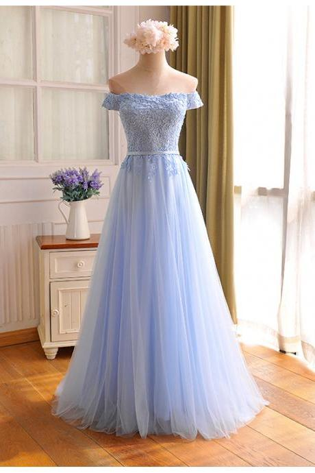 Custom Made Baby Blue Chiffon Prom Dress,Sexy Appliques Off The Shoulder Evening Dress,Floor Length Party Dress,High Quality Wedding Guest Prom Gowns, Formal Occasion Dresses,Formal Dress