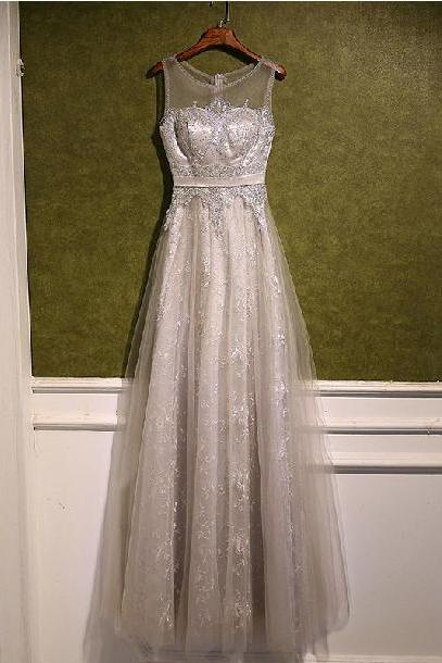Custom Made Silver Lace Prom Dress,Sexy Beading Evening Dress,Sexy Sleeveless Party Dress,High Quality Wedding Guest Prom Gowns, Formal Occasion Dresses,Formal Dress