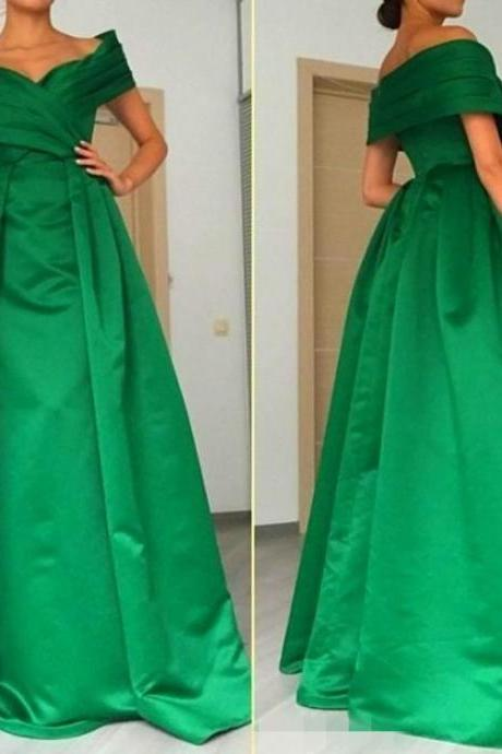 Evening Dresses, Prom Dresses,Party Dresses,A-line Satin Green Prom Dresses, Sexy Zipper V Neck Evening Dresses, Off the Shoulder Women Party Dresses Formal Gowns