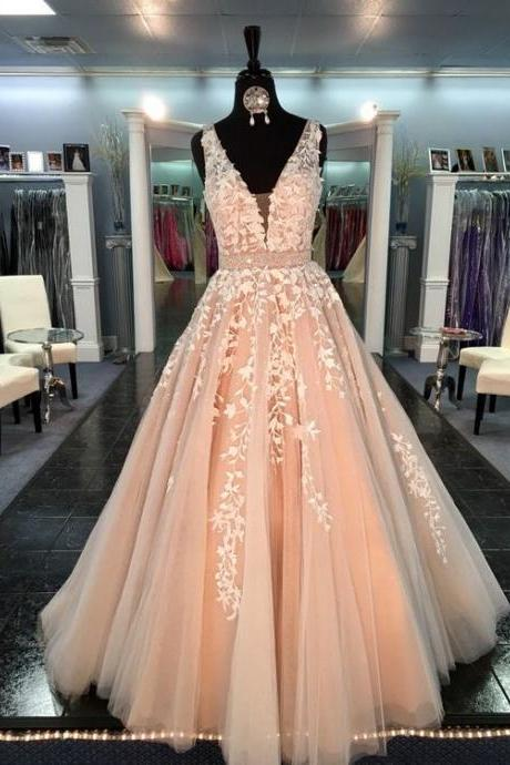2017 Custom Made Blush Pink Appliques Prom Dress,Sexy Deep V-Neck Evening Dress,Floor Length Party Dress,High Quality