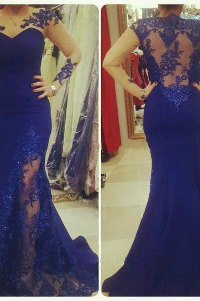 2017 Custom Made Royal Blue Prom Dress,Lace Appliques Prom Dress,Sexy Backless Evening Dress,High Quality
