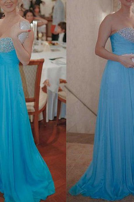 Prom Dress,Sweetheart Evening Dresses,Custom Evening Dresses,Blue Evening Dresses,Cheap Evening Dresses,Beaded Evening Dresses,Sequined Evening Dresses,Chiffon Evening Dresses,Dresses for Evening