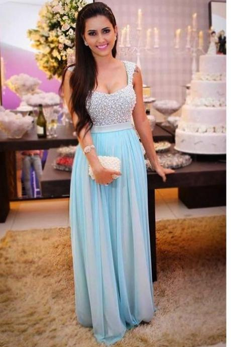 Luxury Prom Gown,Blue Prom Gown,Chiffon Prom Gown,Pearls Prom Gown,Long Prom Gown,Square Neckline Prom Gown,Modest Prom Gown,Sparkly Prom Dress,Elegant Prom Gown