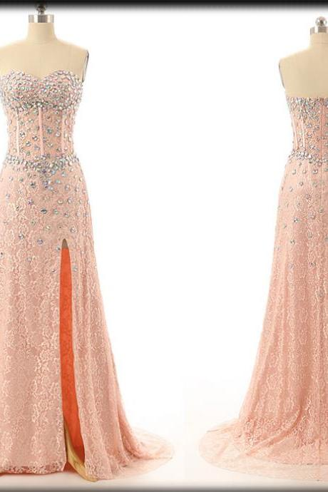 Coral Lace Beaded Embellished Sweetheart Floor Length Formal Dress Featuring Slit