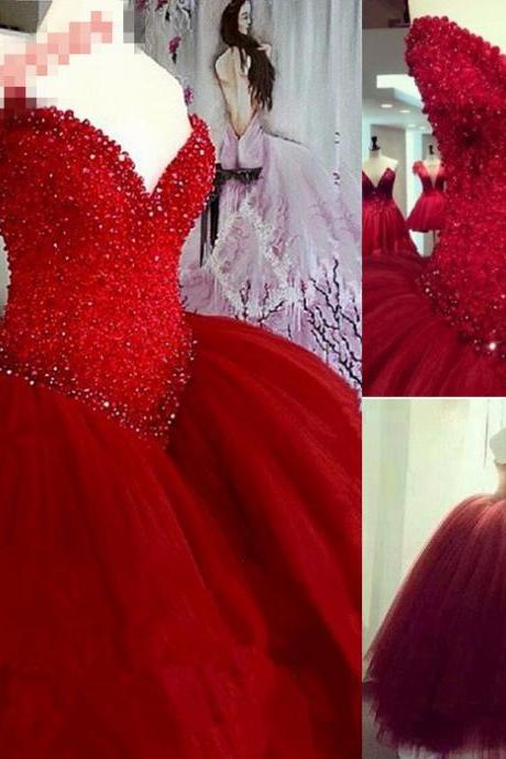 Red Beaded Embellished Sweetheart Floor Length Tulle Wedding Gown