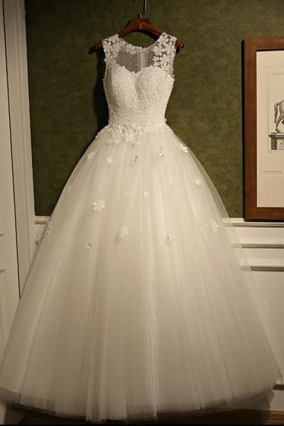Wedding Dress, Romantic Wedding Dresses, Appliques Wedding Dress, Cheap Tulle Bridal Dress ,Scoop Wedding Dresses ,White Wedding Dress,High Quality