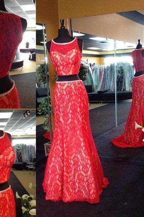 Red Lace Prom Dress,Mermaid Evening Dress,Sleeveless Sexy Dress,See Through Back Party Dress,High Quality