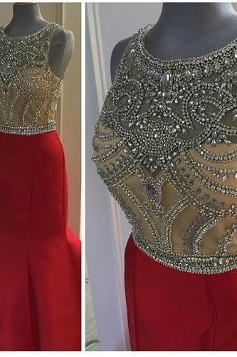 Red Mermaid Prom Dress,Sleeveless Evening Dress,See Through Sexy Dress,Beading Party Dress,High Quality Prom Dresses