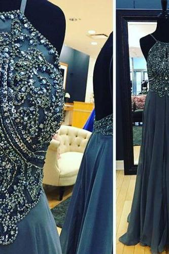 2017 Custom Made Grey Chiffon Prom Dress, Halter Evening Dress,Sleeveless Beaded Sexy Dress,Floor Length Party Dress,High Quality