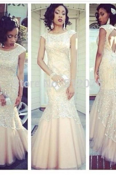 White Lace Prom Dress,Short Sleeves Evening Dress,Mermaid Backless Party Gown,High Quality Prom Dresses