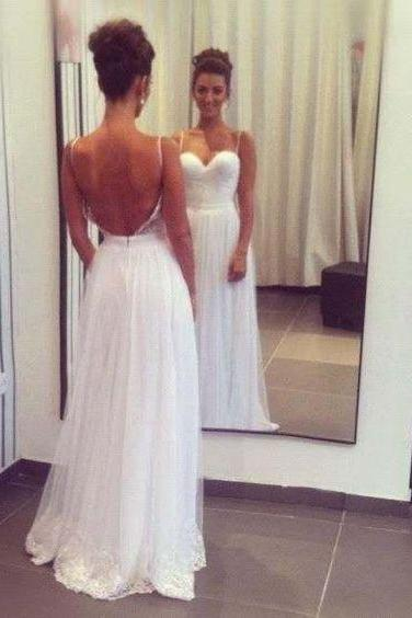 White Lace Wedding Dress,Spaghetti Straps Bridal Dress,Sleeveless Wedding Gown,Backless Wedding Dress,High Quality Wedding Dresses