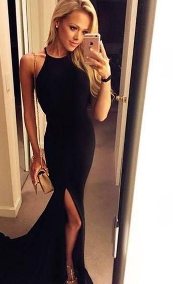 Black Simple Prom Dress,Sexy Halter Evening Dress,Side Slit Party Gown, High Quality Party Dress