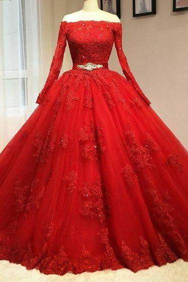 Red Lace Wedding Dress, Long Sleeves Bridal Dress, Off The Shoulder Party Gown,Luxury Beaded Wedding Dress,High Quality Wedding Dresses