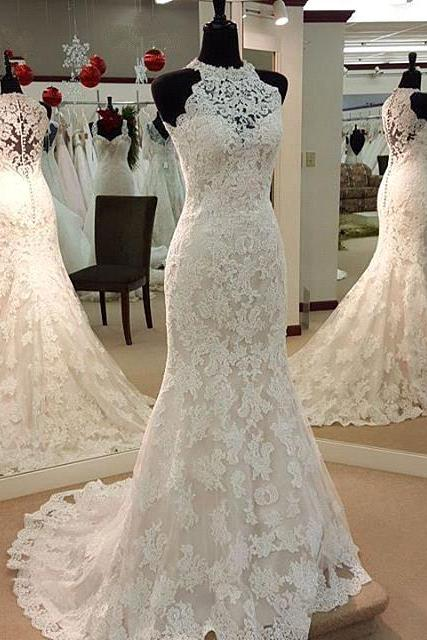Charming White Lace Wedding Dress,Halter Bridal Gown,Sleeveless High Quality Wedding Dresses,Lacr Bridal Dresses