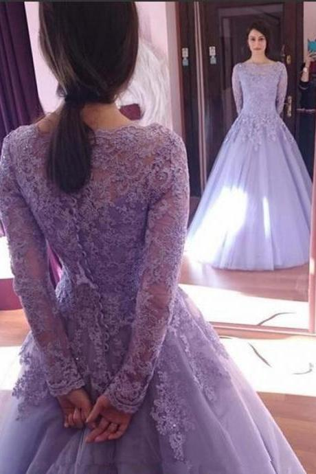 Charming Lilac Tulle Prom Dress, Appliques Beading Prom Dresses, Evening Dress, Long Sleeves Ball Gown Formal Dress