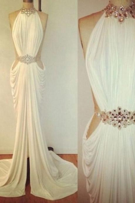 Charming White Prom Dress, Sexy Halter Evening Dress, Beading Prom Dress