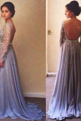 Chiffon Prom Dress,Sexy V-Back Evening Dress,Beading Prom Dress,Long Sleeves Evening Dress