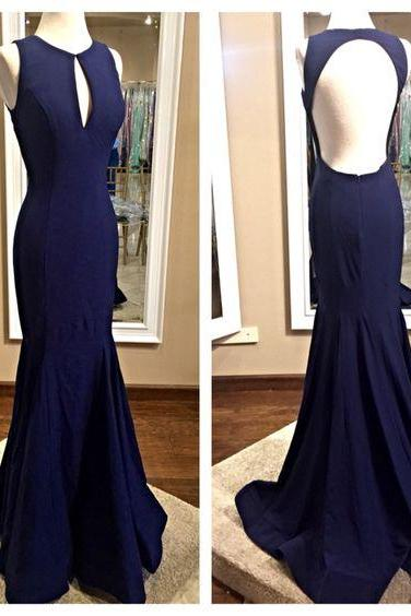 Charming Dark Blue Prom Dress,Sleeveless Evening Dress, Sexy Backless Prom Dresses