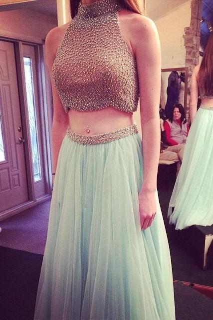 Sexy Prom Dress,Beading Prom Dress,High Neck Prom Dress,Chiffon Prom Dress,A-Line Prom Dresses