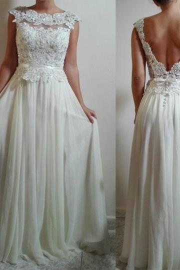 Charming Wedding Dress,Chiffon Wedding Dress,Appliques Wedding Dress,O-Neck Bridal Dress,Backless Prom Dress