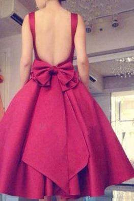 A-line red bow Party dress,short prom dress,sexy backless evening dress