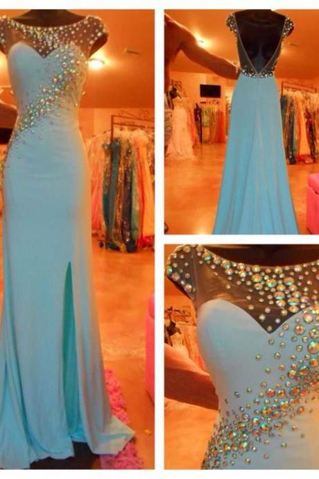 Modern Scoop Beading Prom Dress,Long Blue Backless Mermaid Prom Dresses