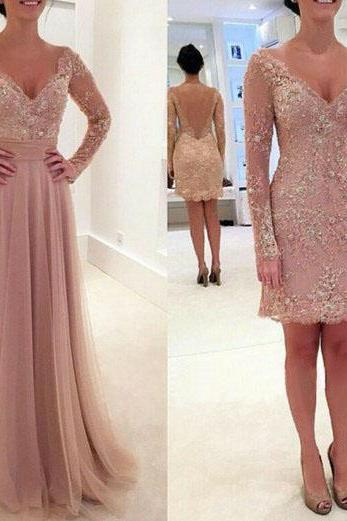 Long Sleeves Prom Dress,V-neck Appliques Prom Party Formal Evening Dresses With Removable Train