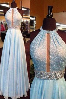 Charming Baby Blue Prom Dress,Sexy Halter Evening Dress,Beading Prom Dress